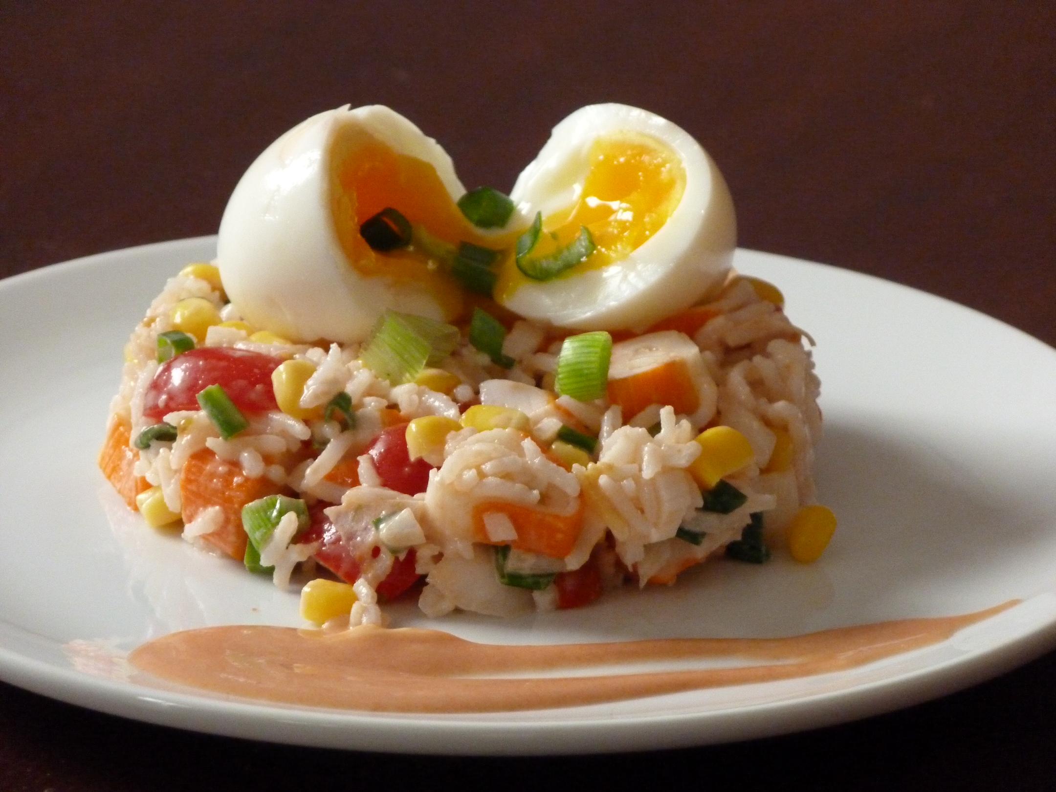 Salade de riz aux b tonnets de crabe oignon nouveau et oeuf mollet la cuisine de stephy - Peut on donner du riz cuit aux oiseaux ...