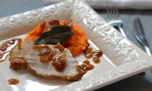 Rôti de porc à la bière et purée de carotte