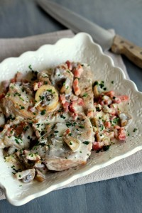 epaule de veau à la crème, échalotes, champignons et lardons 11